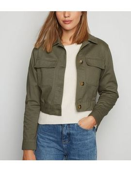 Khaki Cropped Shacket by New Look