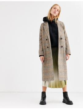 Monki Check Tailored Coat In Brown by Monki