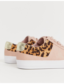 Asos Design Destine Retro Lace Up Sneakers In Leopard And Beige by Asos Design