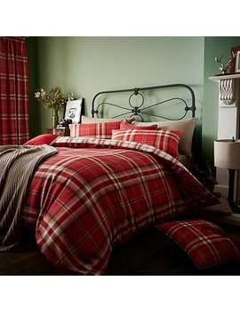 Catherine Lansfield Kelso Red Duvet Cover And Pillowcase Set by Dunelm