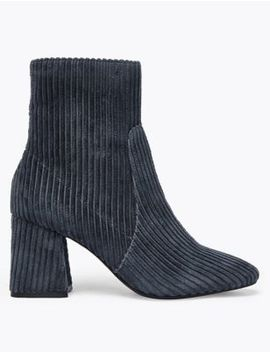 Corduroy Flared Block Heel Ankle Boots by Marks & Spencer
