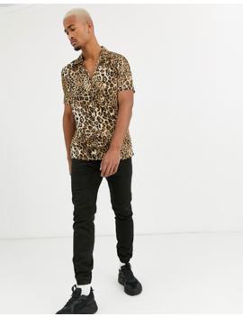 Boohoo Man Leopard Print Short Sleeve Shirt In Brown by Boohoo Man
