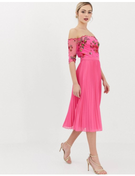 Chi Chi London Lace Embroidered Top Midi Dress With Pleated Chiffon Skirt In Fuchsia by Chi Chi London