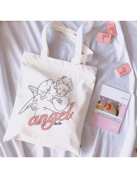 Angel New Female College Canvas Shoulder Bag Fashion Casual Letter Cartoon Print Large Capacity White Totes Print Bags by Ali Express.Com