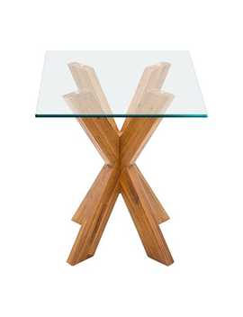 Java X End Table Base &Amp; Square Glass Table Top by Simon Collection