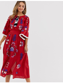 Violet Skye Allover Embroidered Midaxi Dress With Tassel Trim In Red Multi by Violet Skye's