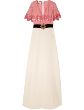 Embellished Velvet Trimmed Silk Crepe And Stretch Jersey Gown by Gucci
