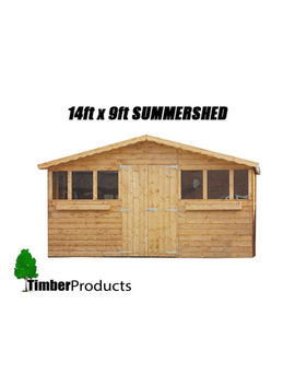 14 Ft X 9 Ft Summer House With 1 Ft Overhang/Garden Shed! Top Quality Timber by Ebay Seller