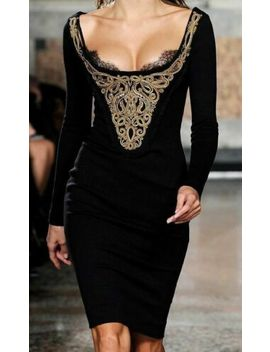 $3,250 Emilio Pucci 2011 Embroidered Lace Black Gold Runway Dress Us 4 6 / It 40 by Ebay Seller
