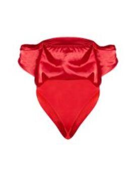 Red Satin Bardot Bodysuit  by Prettylittlething