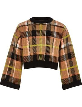 Girls Brown Check Cropped Knit Jumper by River Island