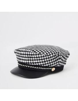 Girls Black Dogtooth Check Baker Boy Hat by River Island