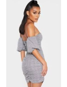 Grey Check Print Ruched Bardot Bodycon Dress by Prettylittlething