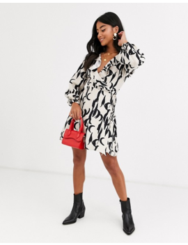 Glamorous Petite Wrap Dress In Brushstroke Print by Glamorous