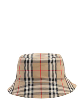 Check Cotton Blend Canvas Bucket Hat by Burberry