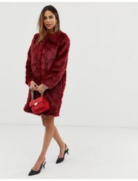 Liquorish Faux Fur Longline Coat by Liquorish