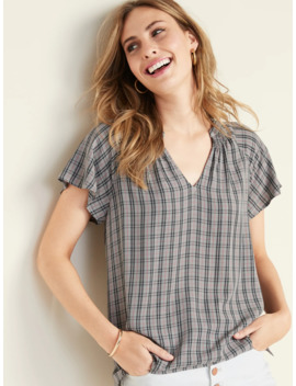 Printed Smocked Back Top For Women by Old Navy