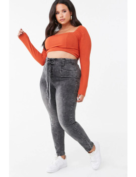 Plus Size Acid Wash Jeans by Forever 21