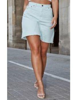 Mint Denim Longline Shorts by Prettylittlething