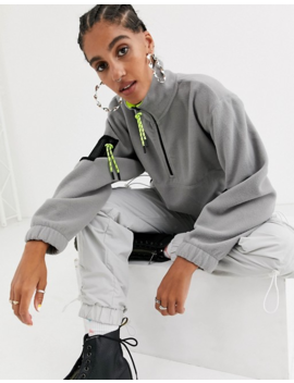 Asos Design   Oversized Fleece Sweatshirt Met Fluorescerende Afwerking by Asos Design