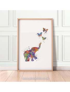 Baby Elephant And Butterflies Watercolour Art Print   Baby Elephant Watercolour Print   Nursery Decor   Nursery Wall Art by Etsy