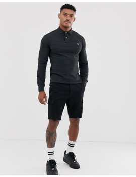 Polo Ralph Lauren Slim Fit Long Sleeve Polo In Black Marl With Player Logo by Polo Ralph Lauren