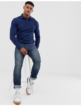 Polo Ralph Lauren Slim Fit Long Sleeve Polo In Navy Marl With Player Logo by Polo Ralph Lauren