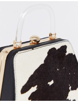 Topshop Boxy Handbag With Acrylic Handle In Cow Print by Topshop