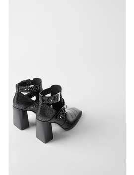 Animal Embossed Heeled Ankle Boots With Openings  Womanshoes &Amp; Bags New In by Zara