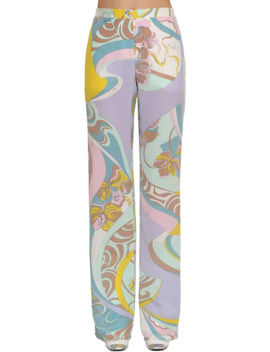 High Waist Printed Silk Palazzo Pants by Emilio Pucci