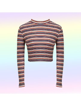 Soft Grunge Rainbow Striped  Crop Top by Kokopiecoco