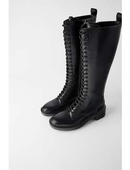 Low Heeled Laced Boots  View All Shoes Woman by Zara