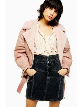 Idol Denim Notch Waist Skirt by Topshop