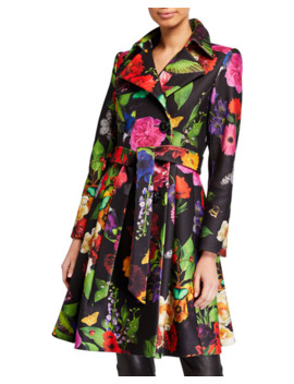 Leila Fit & Flare Pleated Coat W/ Belt by Alice + Olivia