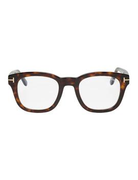 Tortoiseshell Blue Block Soft Square Glasses by Tom Ford