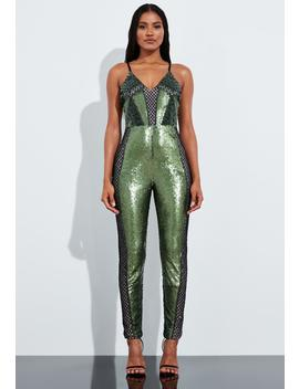 Peace + Love Green Embellished Strappy Jumpsuit by Missguided