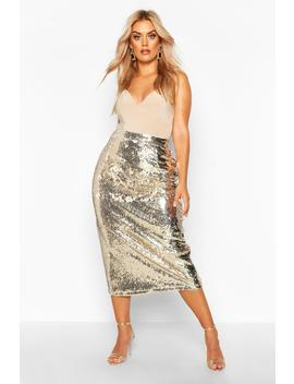 Plus Sequin Longline Midi Skirt by Boohoo