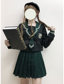 Sailor Style Lolita Outfit Slytherin Academia Applique Long Sleeve Top With Pleate Skirt by Milanoo