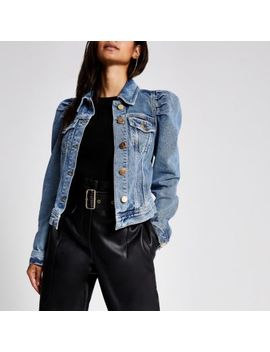 Petite Puff Sleeve Denim Jacket by River Island