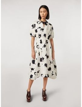 Linen And Cotton Drill Flared Dress Happy Print by Marni