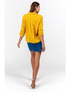 Freddie Double Pocket Button Down Top by Francesca's