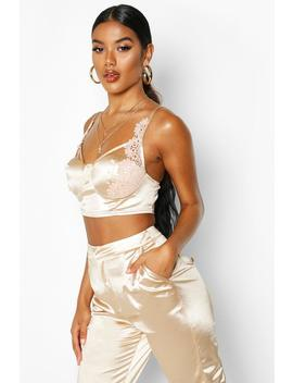 Stretch Satin Lace Cupped Bralet by Boohoo