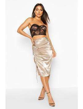 Satin Drawcord Ruched Midi Skirt by Boohoo
