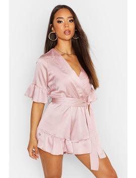 Ruffle Detail Satin Playsuit by Boohoo