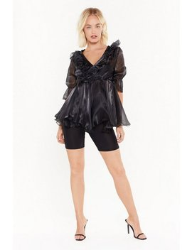 Cool Now Shimmer Ruffle Organza Blouse by Nasty Gal