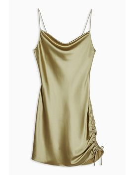 Tall Khaki Ruched Side Dress by Topshop