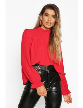 High Neck Ruffle Detail Top by Boohoo