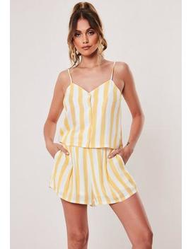 Yellow Stripe Co Ord Button Front Cami Top by Missguided