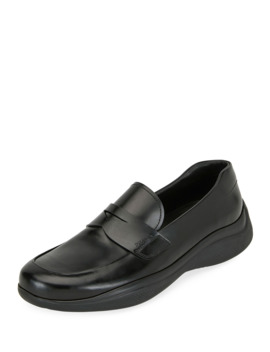 Men's Spazzolato Leather Penny Loafers by Prada