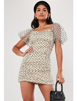 Cream Polka Dot Organza Ruched Mini Dress by Missguided